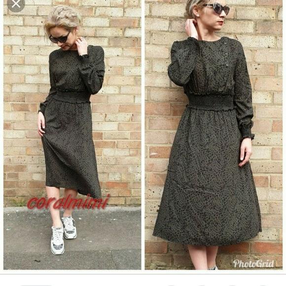 eee60f79 Zara Dresses | Khaki Leopard Animal Print Midi Dress | Poshmark